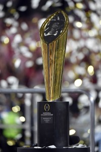 Jan 11, 2016; Glendale, AZ, USA; A view of the 2016 CFP National Championship trophy after Alabama Crimson Tide beat the Clemson Tigers at University of Phoenix Stadium. Mandatory Credit: Kirby Lee-USA TODAY Sports