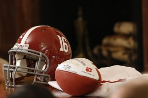 Mar 2, 2016; Washington, DC, USA; An Alabama Crimson Tide football helmet and an honorary game ball, gifts for President Barack Obama (not pictured), rest on a table prior to a ceremony honoring the 2015 national champion Alabama Crimson Tide in the East Room at the White House. Mandatory Credit: Geoff Burke-USA TODAY Sports