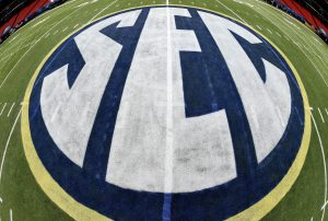 Dec 4, 2015; Atlanta, GA, USA; The SEC logo on the playing field at the Georgia Dome in preparation for the SEC Championship between the Alabama Crimson Tide and the Florida Gators Saturday. Mandatory Credit: John David Mercer-USA TODAY Sports