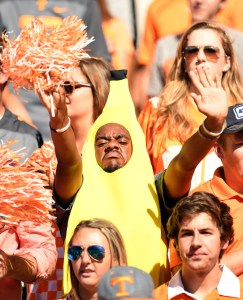 Oct 15, 2016; Knoxville, TN, USA; A Tennessee Volunteers fan in the student section during their game against the Alabama Crimson Tide during the first quarter at Neyland Stadium. Mandatory Credit: John David Mercer-USA TODAY Sports