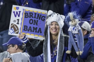 December 2, 2016; Santa Clara, CA, USA; A Washington Huskies fan holds up a sign during the fourth quarter in the Pac-12 championship against the Colorado Buffaloes at Levi's Stadium. The Huskies defeated the Buffaloes 41-10. Mandatory Credit: Kyle Terada-USA TODAY Sports