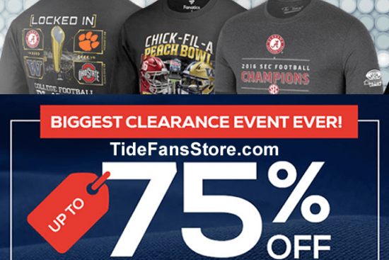 Up To 75% Off - Shop Now For The Best Selection SHOP NOW - TideFansStore.com - *Not all teams will have items on sale. Offer excludes on sale product, recent playoff, championship, special event and race winning product, NFL MLB NBA and NHL jerseys, MLB and NFL On-Field headwear, 2016 Nike apparel, select athletes and memorabilia, Under Armour, Alex and Ani, Dooney & Bourke, Lillie Bee, Vera Bradley, Wilson, Beats by Dre, die cast,show tickets, and some customized apparel merchandise. Free shipping (if applicable) valid in Continental U.S., US Territories and APO/FPO for eligible merchandise only. FanCash is earned on the purchase amount after all applicable discounts are applied and before tax is applied. FanCash will be automatically credited to your account after every eligible purchase. To earn and redeem FanCash you must have a registered customer account with a valid email address, and be a Fanatics Rewards member. FanCash earned between 1/1/2016 and 12/31/16 will expire 11:59 PM EST 12/31/16. FanCash earned 1/1/17 or later will expire 6 months after your most recent purchase. Not valid for gift codes, cards or certificates or taxes. Cannot be combined with other promotions or discounts. Except where required by law, cannot be redeemed for cash, reproduced, modified, sold, traded, refunded or replaced. Not valid on previous purchases or returns. No cash back. Valid only while supplies last. Other brands or merchandise (based on availability or other factors) may be excluded. Offer may be modified or terminated at any time without notice. All purchases are subject to this site's Terms of Use or equivalent.