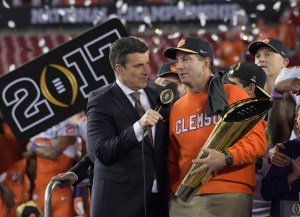 Jan 9, 2017; Tampa, FL, USA; Alabama Alums ESPN host Rece Davis and Clemson Tigers head coach Dabo Swinney chat after Clemson defeats the Alabama Crimson Tide in the 2017 College Football Playoff National Championship Game at Raymond James Stadium. Mandatory Credit: Kirby Lee-USA TODAY Sports