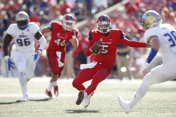Sep 24, 2016; Fresno, CA, USA; Fresno State Bulldogs quarterback Chason Virgil (5) runs the ball against the Tulsa Golden Hurricane in the third quarter at Bulldog Stadium. The Golden Hurricane defeated the Bulldogs 48-41 in double overtime. Mandatory Credit: Cary Edmondson-USA TODAY Sports