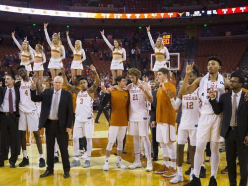 Dec 16, 2017; Austin, TX, USA; The Texas Longhorns sing The Eyes of Texas are Upon You after defeating the Louisiana Tech Bulldogs 75-60 at Frank Erwin Center. Mandatory Credit: John Gutierrez-USA TODAY Sports