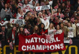 Jan 8, 2018; Atlanta, GA, USA; Alabama Crimson Tide fans celebrate in the stands after the 2018 CFP national championship college football game against the Georgia Bulldogs at Mercedes-Benz Stadium. Mandatory Credit: Mark J. Rebilas-USA TODAY Sports