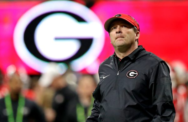 Jan 8, 2018; Atlanta, GA, USA; Georgia Bulldogs head coach Kirby Smart on the field before the 2018 CFP national championship college football game against the Alabama Crimson Tide at Mercedes-Benz Stadium. Mandatory Credit: Jason Getz-USA TODAY Sports