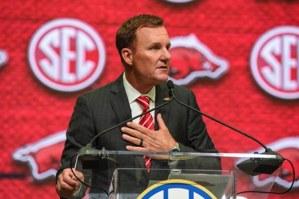 Jul 17, 2018; Atlanta, GA, USA; Arkansas Razorbacks head coach Chad Morris addresses the media during SEC football media day at the College Football Hall of Fame. Mandatory Credit: Dale Zanine-USA TODAY Sports