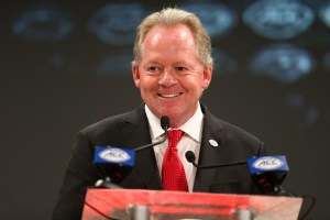 Jul 19, 2018; Charlotte, NC, USA; Louisville Cardinals head coach Bobby Petrino speaks with the media during ACC football media day at The Westin. Mandatory Credit: Jeremy Brevard-USA TODAY Sports