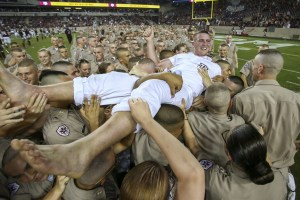 Sep 15, 2018; College Station, TX, USA; Texas A&M Aggies corps of cadets and yell leaders celebrate after an Aggie victory against the Louisiana Monroe Warhawks at Kyle Field. Mandatory Credit: John Glaser-USA TODAY Sports
