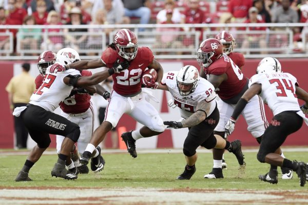 Sep 8, 2018; Tuscaloosa, AL, USA; Alabama Crimson Tide running back Najee Harris (22) carries for yardage against the Arkansas State Red Wolves during the third quarter at Bryant-Denny Stadium. Mandatory Credit: John David Mercer-USA TODAY Sports