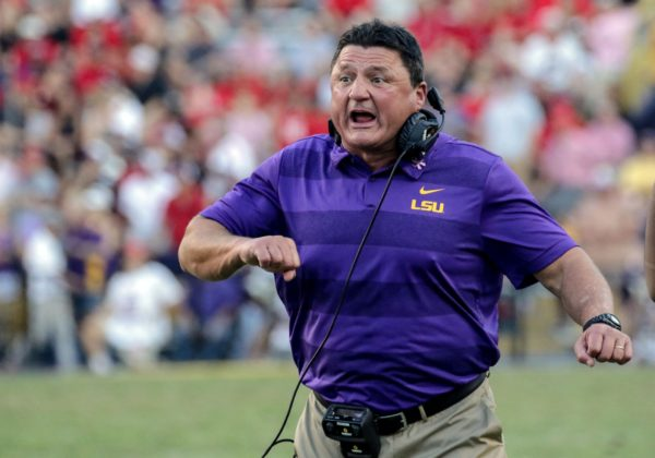 Oct 13, 2018; Baton Rouge, LA, USA; LSU Tigers head coach Ed Orgeron reacts after a touchdown during the fourth quarter against the Georgia Bulldogs at Tiger Stadium. LSU defeated Georgia 36-16. Mandatory Credit: Derick E. Hingle-USA TODAY Sports