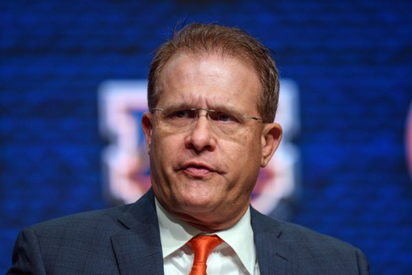 Jul 19, 2018; Atlanta, GA, USA; Auburn Tigers head coach Gus Malzahn talks to the media during SEC football media day at the College Football Hall of Fame. Mandatory Credit: Dale Zanine-USA TODAY Sports