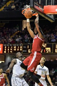 Jan 2, 2018; Nashville, TN, USA; Alabama Crimson Tide forward Donta Hall (0) dunks the ball against the Vanderbilt Commodores during the second half at Memorial Gymnasium. Vanderbilt won 76-75. Mandatory Credit: Jim Brown-USA TODAY Sports
