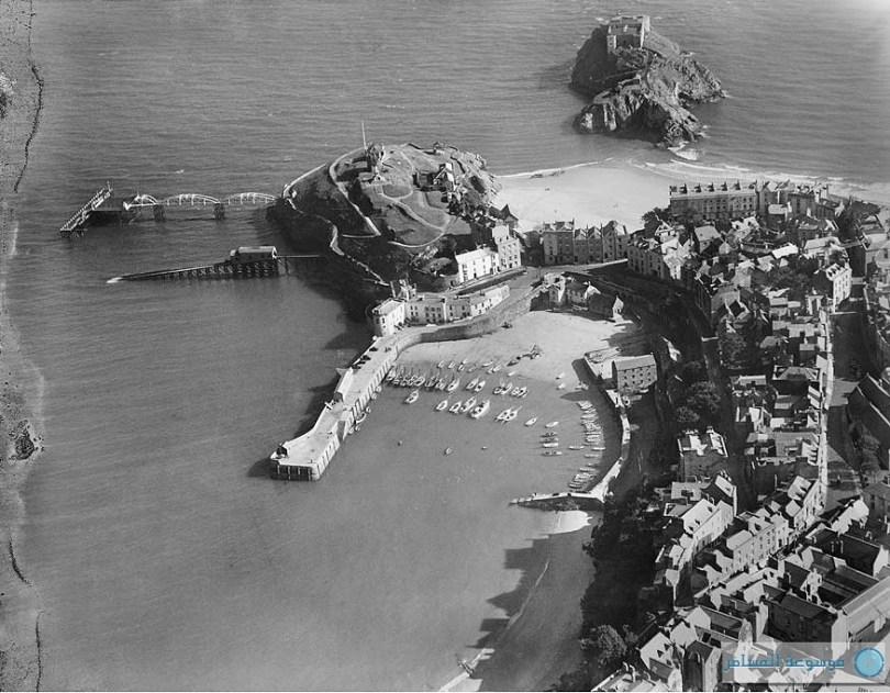 بريطانيا من فوق المرفأ، كاستل هيل وجزيرة سانت كاترين، تينبي، بيمبروكشاير، سبتمبر 1929