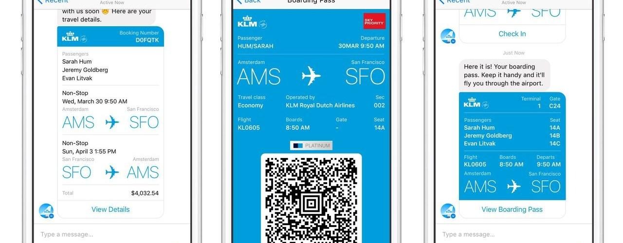 بطاقة صعود الطائرة بواسطة فايسبوك ماسنجر