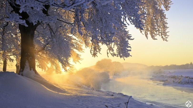 اسكتلندا-نهر-كلايد-أشعة-الشمس-ثلوج-منتصف-الشتاء