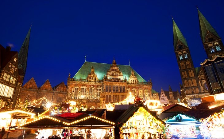 سوق بريمن وتمثال رولان-ألمانيا-بريمن