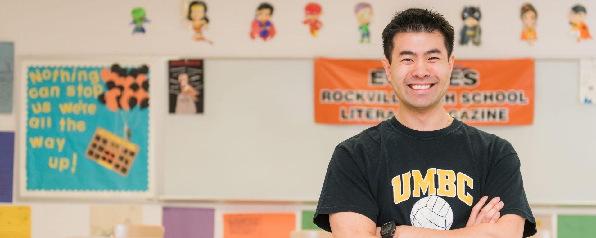 UMBC alumnus Sean Pang in his classroom