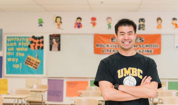 UMBC alumnus Sean Pang in his classroom