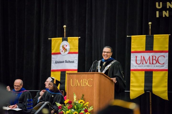 UMBC President Freeman Hrabowski addresses the audience during Winter Commencement Ceremonies 2017.