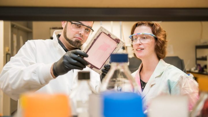 White man and woman look at equipment in a lab. Both wear lab coats and protective glasses.