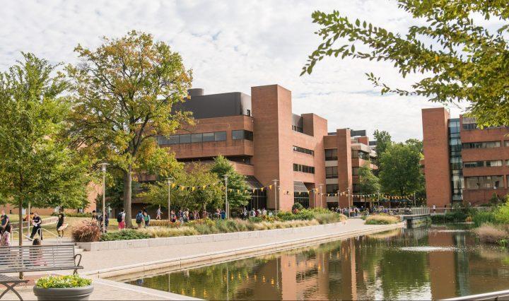 Campus building near pond