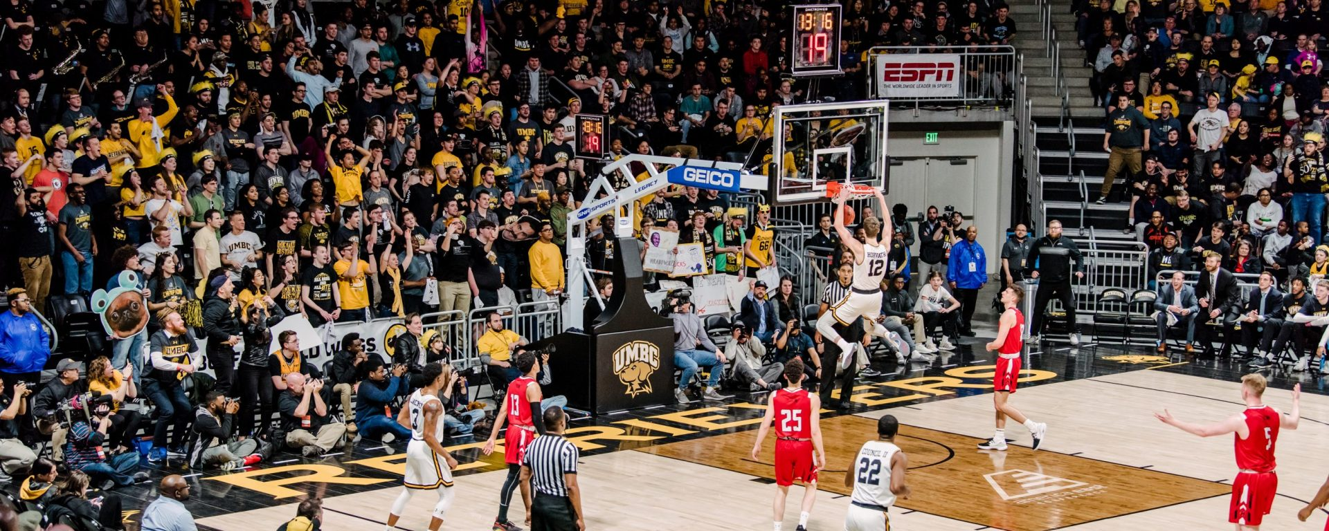 Brandon Horvath dunks for two during UMBC's semifinal for the America East.