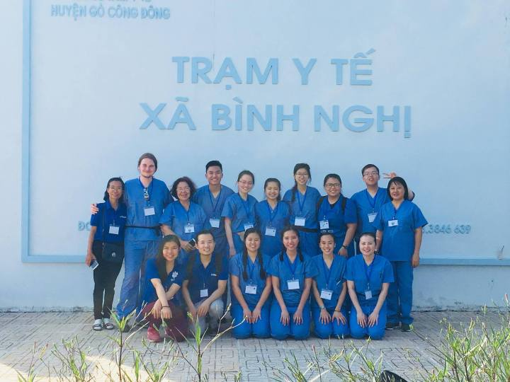 Liam Connor '18, information systems, with colleagues in Vietnam. Photo courtesy of Connor and the Vietnam Medical Assistance Program.