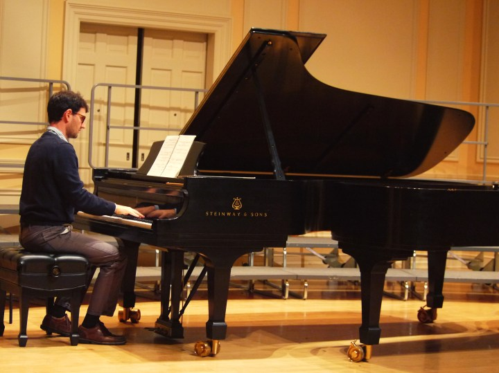 Daniel Pesca warms up at the piano before a 2014 performance at the Library of Congress.