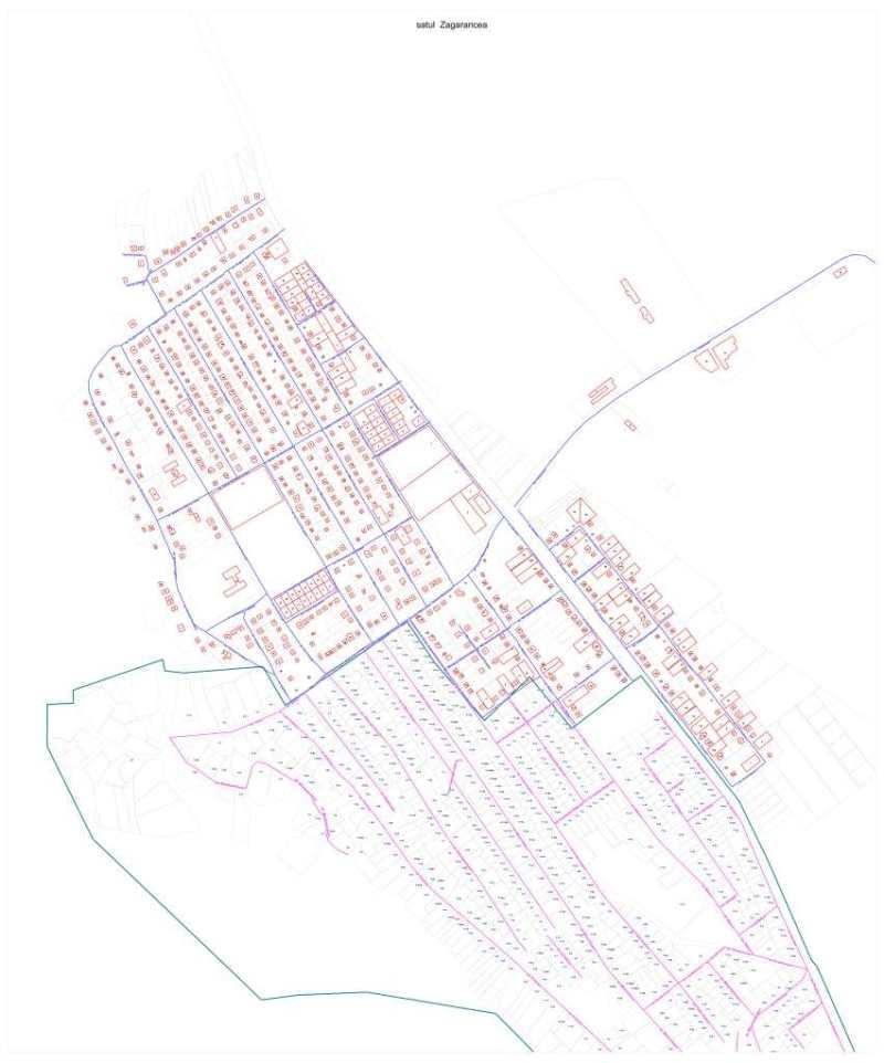 Planul cu străzi al satului Zagarancea