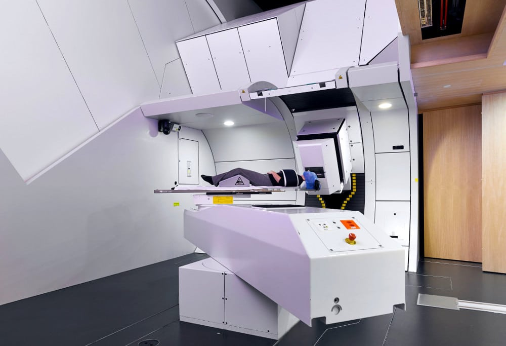 Photo - Proton-beam therapy at the Paul Scherrer Institute in Switzerland. A Berkeley Lab researcher is working with PSI and Varian Medical Systems to develop a new system with improve beam performance. (Credit: Center for Proton Therapy/PSI)