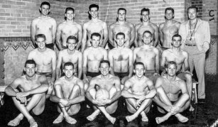 Education driven Tom Capehart photographed with the USC water polo team. He is in the second row, first on left.