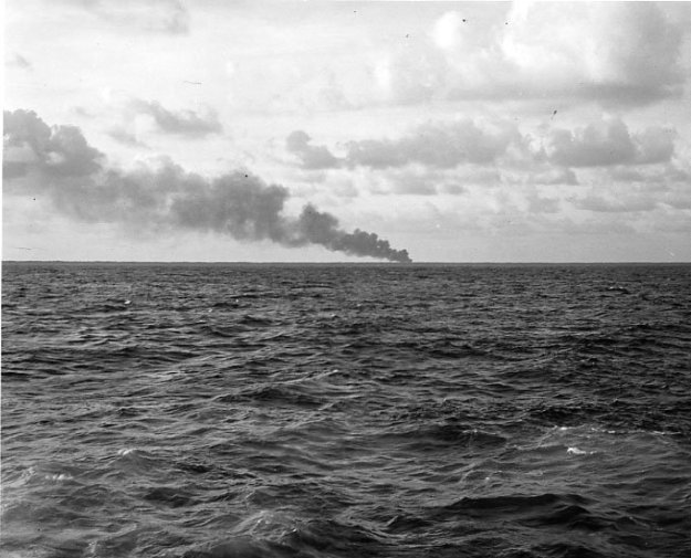 Smoke from Makin Island taken by the crew of the one of two submarines that ferried Marines to the raid.U.S. Navy photo