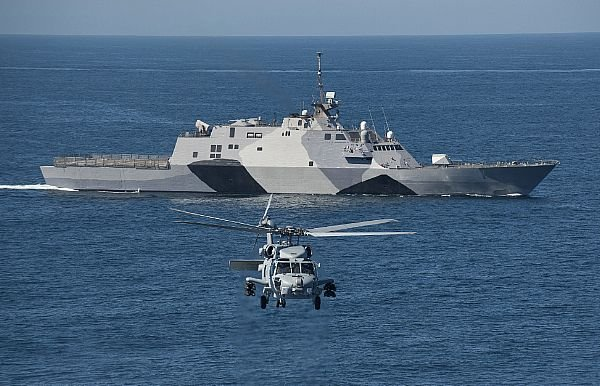 USS Freedom in its new paint scheme on Feb. 22. US Navy Photo
