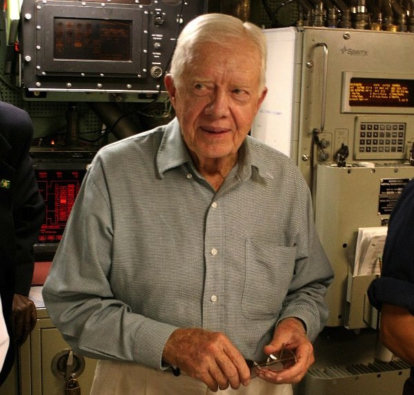 Former US president Jimmy Carter onboard USS Jimmy Carter (SSN-23) in 2005. US Navy Photo