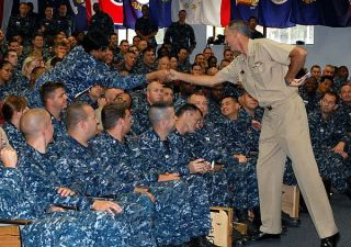 Chief of Naval Personnel Vice Adm. Scott Van Buskirk at Naval Air Station Jacksonville, Fla. US Navy Photo