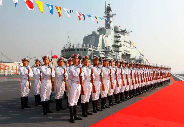 A naval honor guard at the in 2012 on board the Liaoning. Xinhua News Agency Photo
