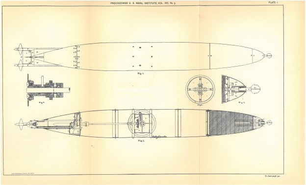 A schematic of a Howell Torpedo from an 1800s issue of Proceedings. US Naval Institute Archives