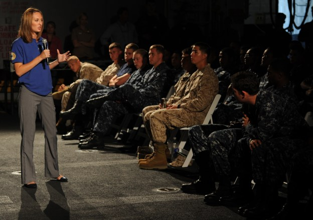 """A Central Michigan University educator speakers to Sailors and Marines during the """"No Zebras, No Excuses"""" sexual assault prevention and response (SAPR) program aboard the amphibious assault ship USS Makin Island in 2012. US Navy Photo"""