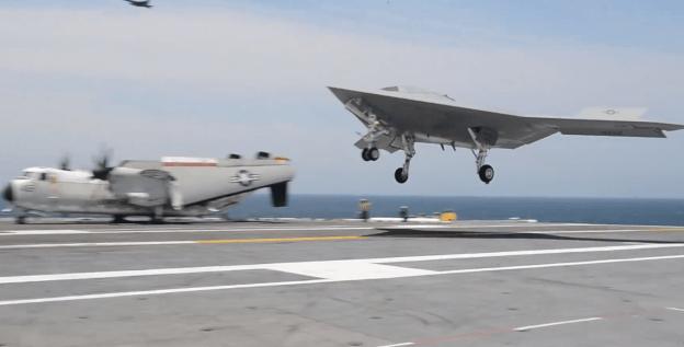 Northrop Grumman's X-47B just before landing on the USS George H.W. Bush (CVN-77) on July, 10 2013. US Navy Photo
