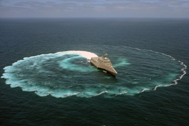 The littoral combat ship USS Independence (LCS 2) demonstrates its maneuvering capabilities in the Pacific Ocean on July 18, 2013. US Navy Photo