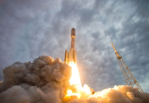 An Atlas V rocket launches the Navy's Mobile User Objective System (MUOS) 2 satellite from Cape Canaveral Air Force Station, Fla. on July 19, 2013. US Navy Photo via NASA