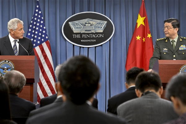 Defense Secretary Chuck Hagel and Chinese Defense Minister Gen. Chang Wanquan hold a joint press conference at the Pentagon, Aug. 19, 2013. DoD Photo