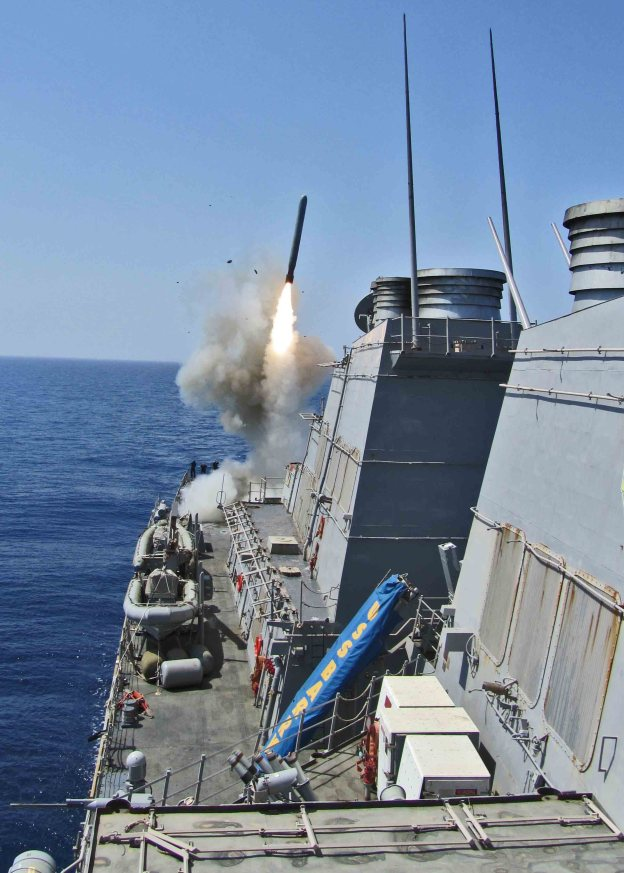SS Barry (DDG 52) launches a Tomahawk cruise missile to support Joint Task Force Odyssey Dawn. Odyssey Dawn near Libya in 2011. US Navy