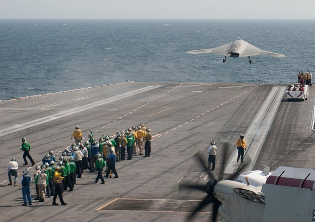 A X-47B Unmanned Combat Air System (UCAS) demonstrator launches from the aircraft carrier USS George H.W. Bush (CVN-77) on July, 10 2013. US Navy Photo