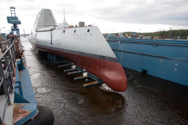 Zumwalt (DDG-1000) at General Dynamics Bath Iron Works shipyard in Maine. NAVSEA Photo