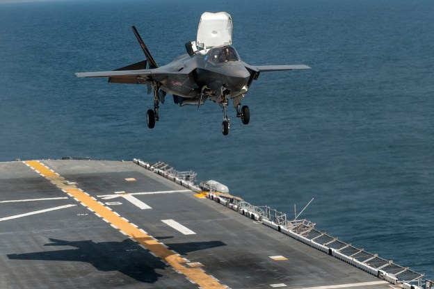 An F-35B Lightning II aircraft takes off from the amphibious assault ship USS Wasp (LHD-1). US Navy Photo