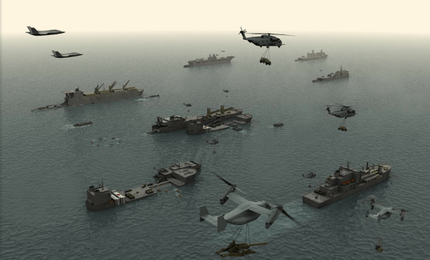 An artist's conception of the Amphibious Ready Group with the addition of Mobile Landing Platforms. US Marine Corps Photo
