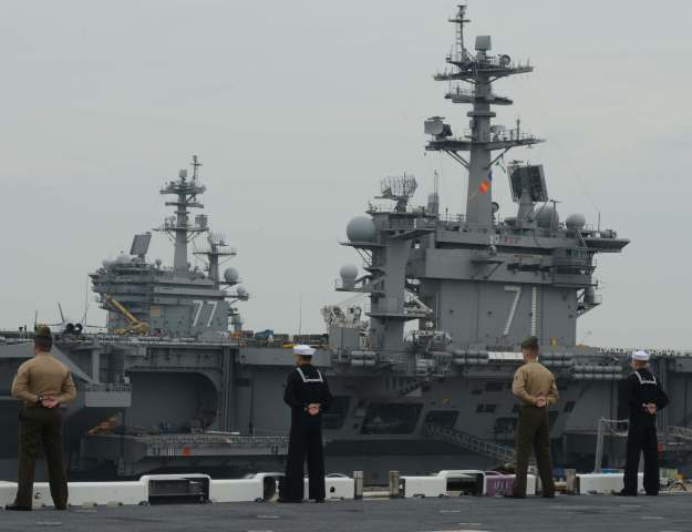 Aircraft carriers in Norfolk, Va. on Feb. 8, 2014. US Navy Photo